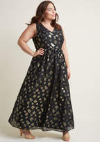 ModCloth Sleeveless Maxi Dress with V-Neck and Metallic Flowers in S - A-line