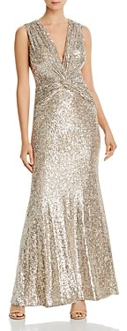 Aqua Sequined Twist-Front Gown - 100% Exclusive