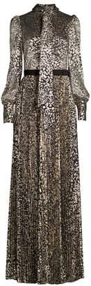 Rebecca Vallance Vienna Metallic Leopard Print Pleated Gown
