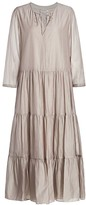 Max Mara Arold Cotton & Silk Tiered Maxi Dress