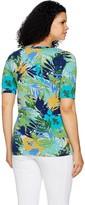 Denim & Co. Active Tropical Print Elbow Sleeve V-Neck Top