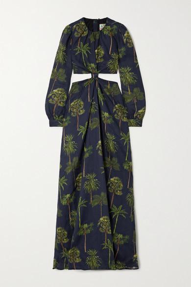 Agua Bendita Parana Cutout Printed Linen Maxi Dress - Navy