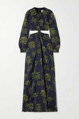 Agua Bendita Parana Cutout Printed Linen Maxi Dress - Black