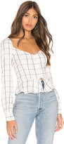 superdown Marrie Flannel Puff Sleeve Top