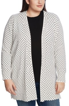 CeCe Plus Size Polka-Dot Open-Front Cardigan