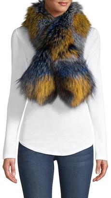 Adrienne Landau Multicolor Fox Fur Scarf