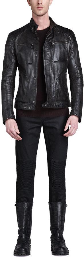 Belstaff Weybridge Hand-waxed Leather Bomber Jacket