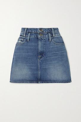 Frame Le Mini Distressed Denim Skirt - Mid denim