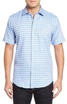 Bugatchi Men's Shaped Fit Short Sleeve Sport Shirt