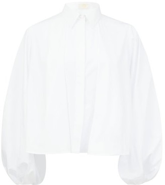 Sara Battaglia Balloon-sleeve Cotton Blouse - White