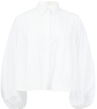 Sara Battaglia Balloon-sleeve Cotton Blouse - Womens - White