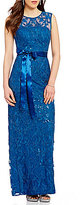 Adrianna Papell Sequin Lace Cap Sleeve Sash-Tie Column Gown