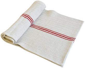 """One Kings Lane Vintage French Grain Sack Table Runner 84"""" Long - white/red/multi"""