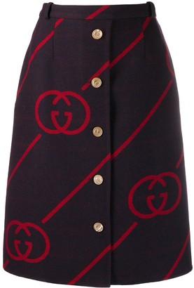 Gucci interlocking G reversible wool skirt