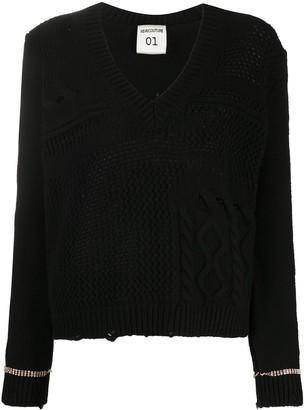 Semi-Couture Multi-Knit Embellished Cuff Jumper