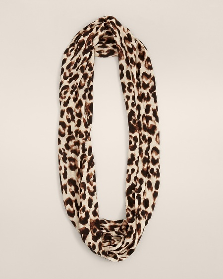 Chico's Mini Knit Cheetah Infinity Scarf