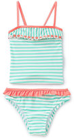 Jessica Simpson 4-6X Butterfly-Trimmed Striped Tankini