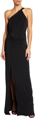 Halston One-Shoulder Ruched Jersey Column Gown