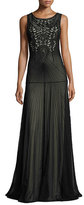 Alice + Olivia Sleeveless Beaded Tulle Gown, Black