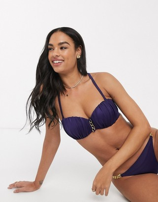 Dorina Filao bandeau bikini top in navy