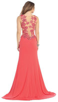 May Queen - Floral Applique Illusion Chiffon Gown RQ7157