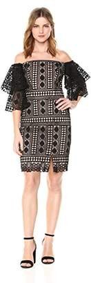 Nicole Miller Women's Embroidered Lace Off Shoulder Dress