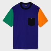 Paul Smith Men's Indigo Colour-Block Supima-Cotton Pocket T-Shirt