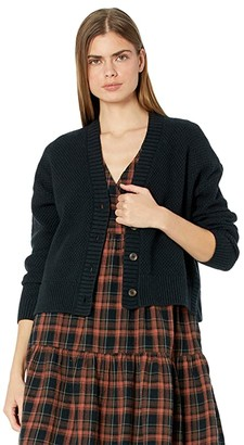 Madewell Colvin Cardigan Sweater in Cotton-Merino Yarn (True Black) Women's Clothing