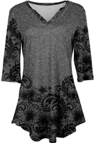 Azalea Gray & Black Abstract V-Neck Tunic - Plus Too