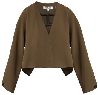 Diane von Furstenberg V-neck Cropped Crepe Jacket - Khaki