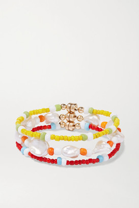 Éliou eliou - Set Of Three Gold-tone, Pearl And Bead Bracelets - Red