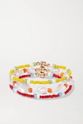 Eliou Set Of Three Gold-tone, Pearl And Bead Bracelets