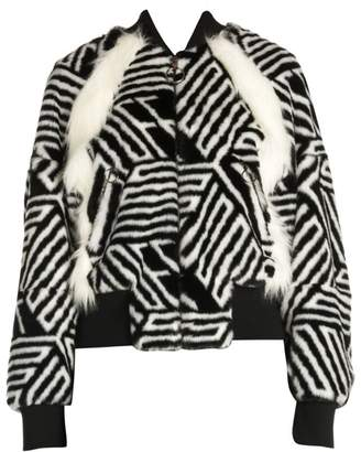 Off-White Off White Faux-Fur Zebra Monogram Bomber Jacket