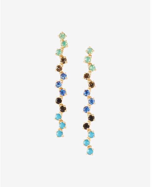 Express zigzag multicolor stone linear drop earrings