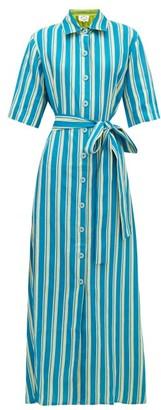 Evi Grintela Sunflower Striped-linen Shirt Dress - Womens - Yellow Stripe