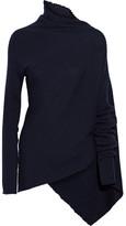 Marques Almeida Marques' Almeida Asymmetric Ribbed Merino Wool Turtleneck Sweater - Midnight blue