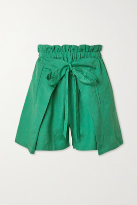 Cult Gaia Campbell Tie-front Linen Shorts - Forest green
