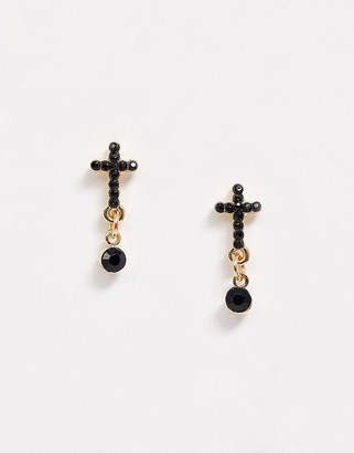 Topman cross stud earrings in gold