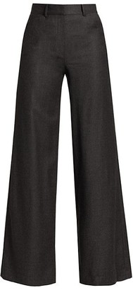 Theory Terena Flannel Wool Wide-Leg Pants