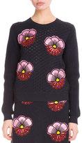 Kenzo Tanami Flower Embroidered Crochet Sweatshirt, Midnight Blue