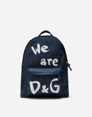 Dolce & Gabbana Nylon Backpack With We Are Print