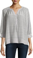 Joie Izzy Printed Silk 3/4-Sleeve Blouse, Stone