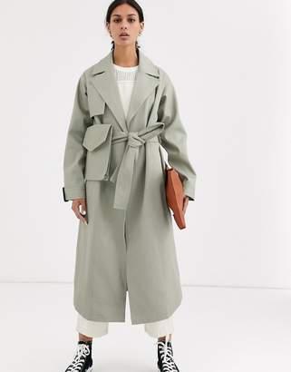 Asos Design DESIGN canvas bumbag trench coat in khaki-Green