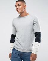 Jack and Jones Originals Knitted Jumper With Sport Stripe Sleeve