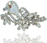 Ever Faith Wedding Silver-Tone Flower Austrian Crystal Brooch A07185-1