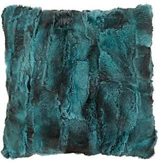 Adrienne Landau Rabbit Fur Pillow - Turquoise