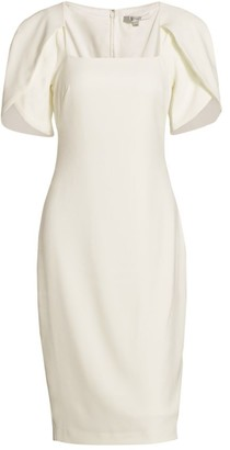 Badgley Mischka Tulip-Sleeve Cocktail Dress