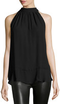Max Studio Tie-Neck Sleeveless Blouse, Black