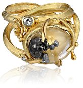 "Black Diamond Vibes ""Whimsical"" 18 Karat Gold Large Rock Crystal and Ring, Size 6"