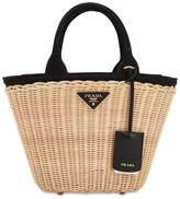 Prada Canvas & Wicker Top Handle Bag
